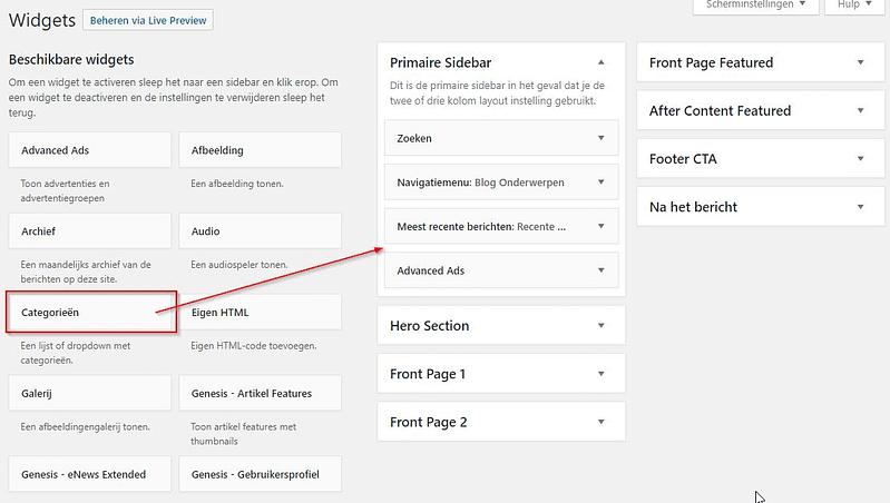 WordPress Widgets Plaatsen